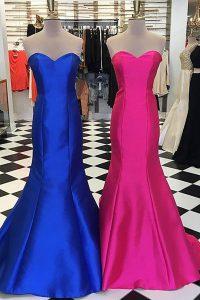 Mermaid Royal Blue Sleeveless Ruching Floor Length Prom Evening Gown