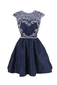 Clearance Scoop Navy Blue Cap Sleeves Beading Knee Length Prom Evening Gown