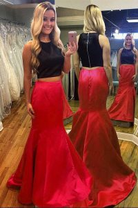 Mermaid Prom Dresses Red And Black Scoop Satin Sleeveless Floor Length Zipper