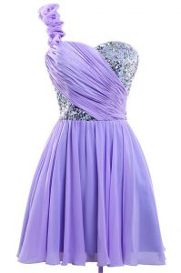 Free and Easy One Shoulder Mini Length Lace Up Formal Evening Gowns Lavender for Prom and Party with Sequins