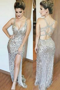 Popular Mermaid Silver Sleeveless Floor Length Sequins Backless Going Out Dresses