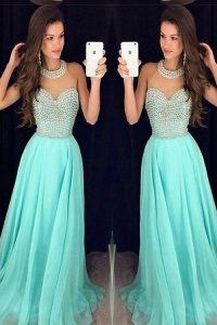 Aqua Blue Sleeveless Sweep Train Beading Pageant Dress Womens