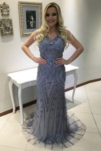 Mermaid Blue V-neck Neckline Beading and Appliques Sleeveless Backless