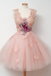 Delicate Pink A-line Square Sleeveless Tulle Knee Length Zipper Appliques and Embroidery Pageant Dress for Girls