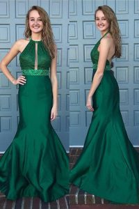 Sexy Mermaid Halter Top With Train Green Prom Party Dress Satin Sweep Train Sleeveless Beading and Lace