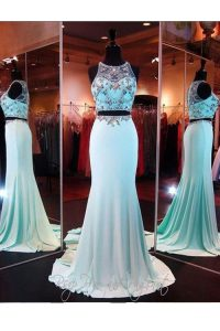 Glorious Baby Blue Two Pieces Scoop Sleeveless Elastic Woven Satin With Brush Train Zipper Beading and Appliques Prom Dr
