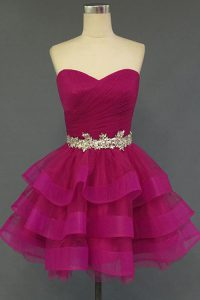 Ideal Fuchsia Lace Up Homecoming Dress Beading Sleeveless Mini Length