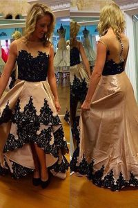 Bateau Sleeveless Satin Prom Dresses Lace Zipper