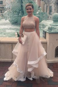 Scoop Tulle Sleeveless Floor Length Mother Of The Bride Dress and Sequins