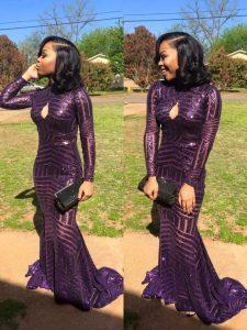 Best Selling Mermaid Eggplant Purple Dress for Prom Sequined Sweep Train Long Sleeves Sequins