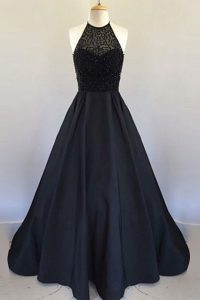Dazzling Halter Top Black Sleeveless Beading and Pleated Floor Length Prom Dresses
