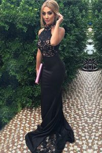 Fine Mermaid Black Zipper High-neck Lace and Appliques Homecoming Dress Elastic Woven Satin Sleeveless Sweep Train