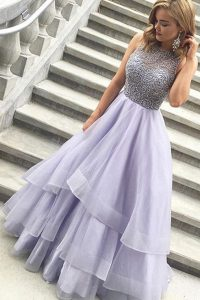 Ideal Lavender Scoop Neckline Beading Prom Party Dress Sleeveless Zipper