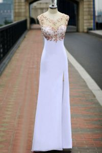 Scoop Sleeveless Backless Dress for Prom White Chiffon