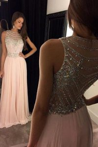 Nice Chiffon Scoop Sleeveless Sweep Train Criss Cross Beading Pageant Dress for Girls in Pink