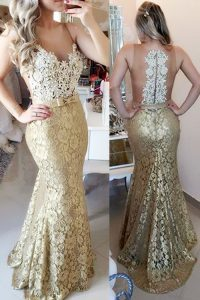 Mermaid Gold Zipper Spaghetti Straps Lace and Belt Prom Party Dress Lace Sleeveless Brush Train