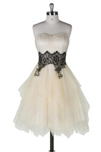 Champagne Sleeveless Appliques Knee Length Going Out Dresses
