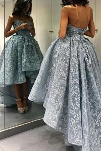 Dramatic Lace High Low A-line Sleeveless Grey Mother Of The Bride Dress Backless