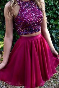 Designer Halter Top Sleeveless Chiffon Knee Length Criss Cross Prom Dress in Fuchsia with Beading