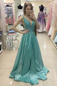 Satin Sleeveless With Train Prom Evening Gown Sweep Train and Beading