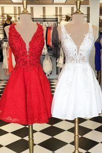 New Style Red Sleeveless Knee Length Lace Zipper Evening Party Dresses