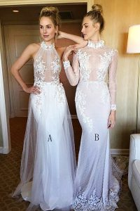 Discount Sweep Train Mermaid Prom Dress White High-neck Tulle and Lace Long Sleeves Lace Up