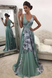 Chiffon and Printed V-neck Sleeveless Sweep Train Zipper Pattern Prom Dresses in Green
