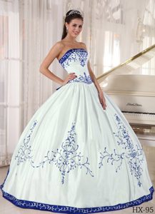 White and Royal Blue Quinceanera Dress with Embroidery on Promotion