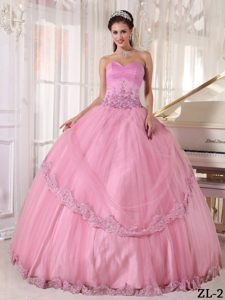Custom Made Baby Pink Sweetheart Tulle Quinceanera Dresses with Appliques