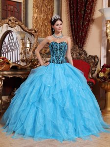 Aqua Blue Sweetheart Ball Gown Quinceanera Dress with Beading and Ruffles
