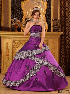 Pretty Purple Strapless Ball Gown Zebra Sweet 16 Dress with Appliques
