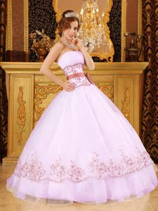 Baby Pink Strapless Long Ruched Quinceanera Dress with Orange Sash