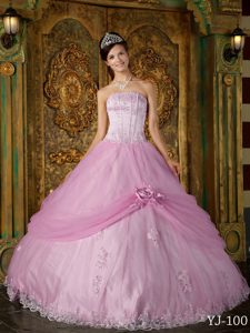 Baby Pink Strapless Ball Gown Quinceanera Dress with Pick-ups and Flowers