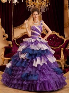 One Shoulder Multi-colored Quinceanera Dress with Beading and Layered Ruffles
