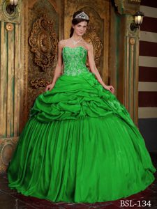 Spring Green Sweetheart Appliqued Quinceanera Dresses with Pick-ups