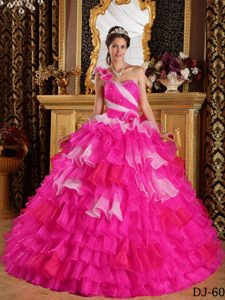 One Shoulder Hot Pink Ball Gown Quinceanera Dress with Ruffles and Flowers
