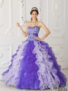 New Sweetheart Purple and White Organza Zebra Quinceanera Dress with Ruffles