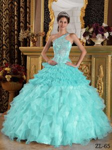 Turquoise One Shoulder Organza Quinceanera Dress with Appliques and Ruffles