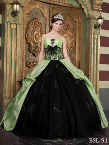 New Strapless Green and Black Quinceanera Dress with Pick-ups and Appliques