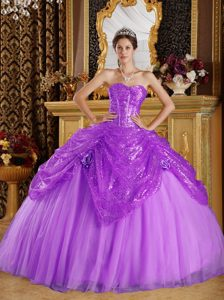 Strapless Purple Sequin and Organza Sweet 15 Dress with Pick-ups and Flower