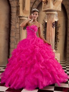 Hot Pink Strapless Long Ruffled Organza Sweet 16 Dresses with Beading