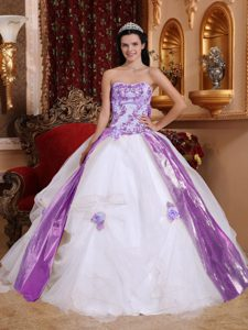 White Strapless Organza Dress for Quince with Beading and Appliques on Sale