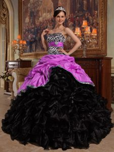 Hot Pink and Black Sweetheart Ruffled Dress for Quince in Organza and Taffeta