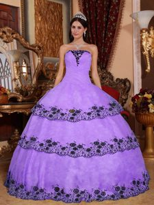 Lavender Ball Gown Strapless Organza Quinceanera Dresses with Appliques
