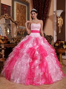 2013 Multi-color Ball Gown Sweetheart Organza Dress for Quince with Ruffles