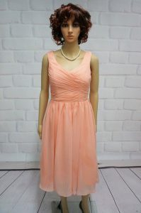 Fitting Ruching Mother Of The Bride Dress Peach Lace Up Sleeveless Knee Length