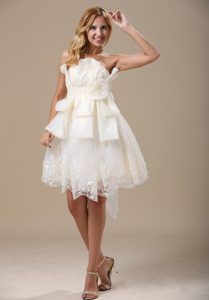 Lovely Strapless Beach Wedding Dress with Bow and in 2014
