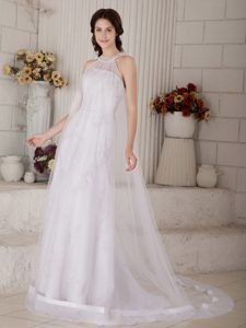 Perfect High-neck Brush Train Organza Beaded Wedding Dress for Cheap