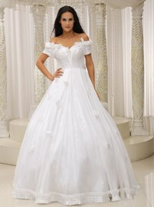 Ball Gown off the Shoulder Church Wedding Dresses with Appliques for Cheap