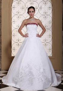Satin Modest Dress for Wedding with Chapel Train and Embroidery Decorated